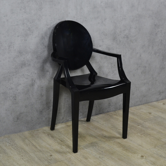 Стул Louis Ghost Chair Clear Black фото