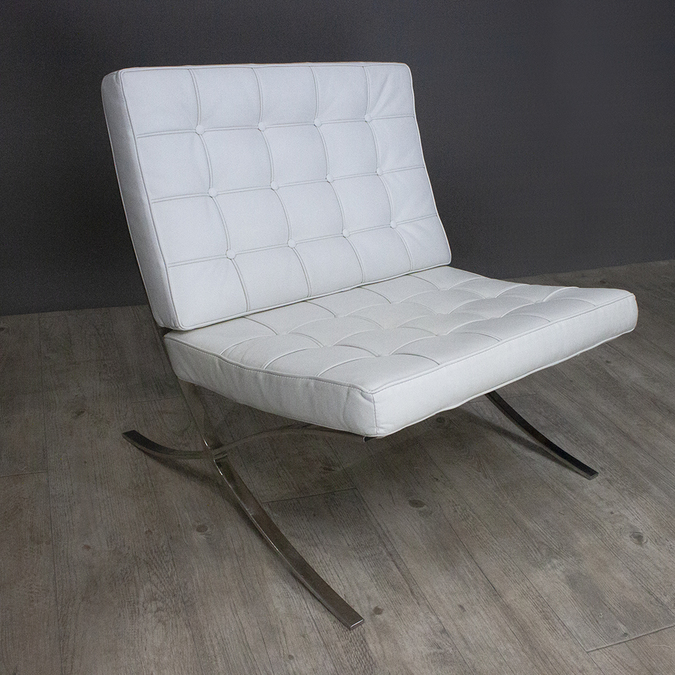 Кресло Barcelona Chair White фотография